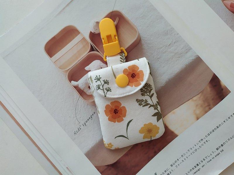 黃夾小花 方形平安符袋 彌月禮物 平安符袋 香火袋