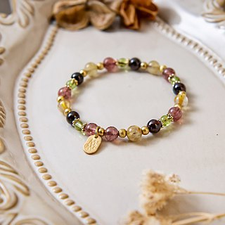 <Slow temperature natural stone series>C1209 titanium crystal strawberry crystal bracelet