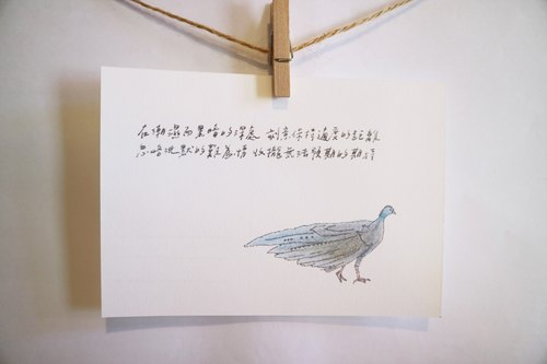 Animals with its poetry 13 / big eye pheasant / hand painted / card postcard
