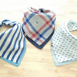 Baby Bib,Set of 3,Baby Bandana Bib,Reversible Bib,Nautical, Anchor, Boy, Girl