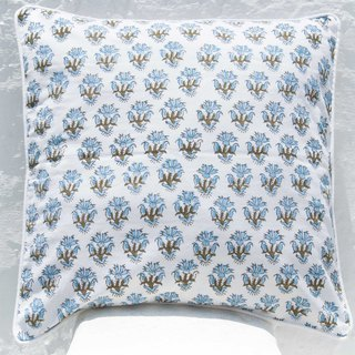Handmade woodcut printed pillowcase cotton pillowcase handmade printed hug pillowcase - French romantic blue flowers