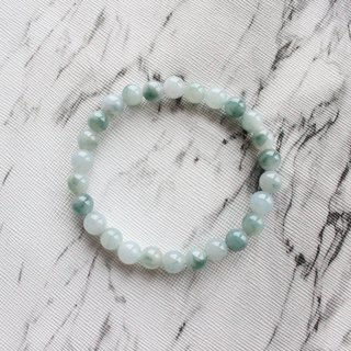 Journal-Blu-ray pure natural ice blue bottom floating blue flower emerald (Burma jade) boutique bead bracelet