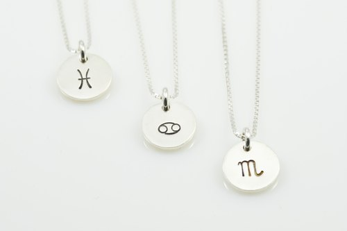 Constellation small tag necklace - water sign (a)