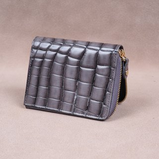 Zipper Wallet / Coin Wallet / Italy Crocodile Cow Leather(Gray)