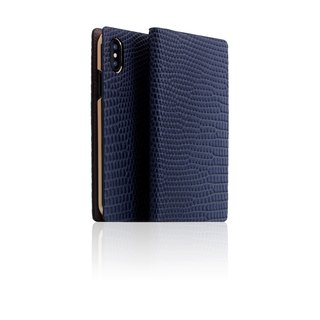 SLG Design iPhone Xs / X D3 ILL Classic Lizard Side Leather Leather Case - Blue