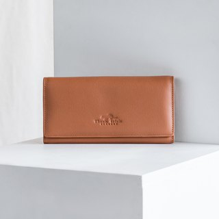 MINIMAL WOMEN SOFT COW LEATHER LONG WALLET 'POPPY'- BROWN/TAN