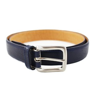 FULLGRAIN │ Italian Plant Leather Men's Lizard Belt Deep Blue