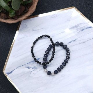 [The only product] sapphire ore + black chalcedony * pure silver beads bracelet