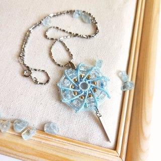 N006-Handwoven Windmill Necklace Ice Cracked Beads Blue Crystal Windmill