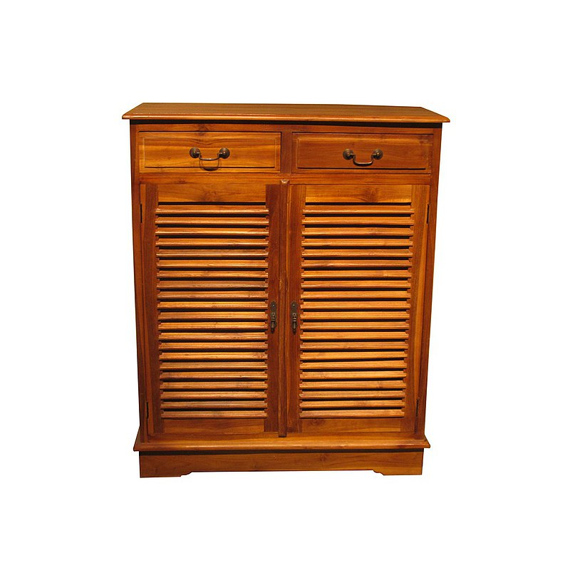 [Jidi City Teak Furniture] Teak double door louver shoe storage cabinet porch PP501CS1