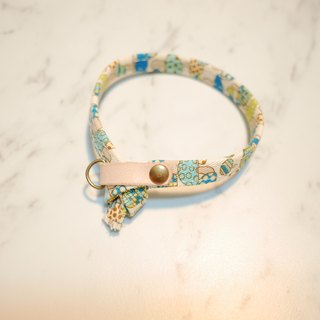 Cat collar double-sided design blue mushrooms do not want to cry Japanese cloth with bells
