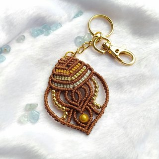 K006- hand-woven beaded key ring with stamp
