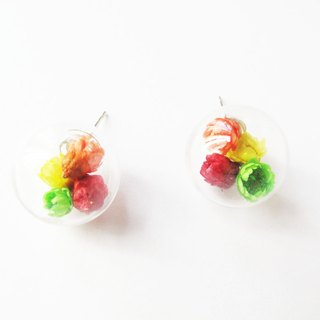 * Rosy Garden * color daisies dried flower crystal ball earrings interchangeable clip-on