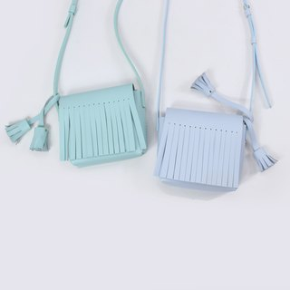 Zemoneni tassels style ice cream color leather shoulder bag