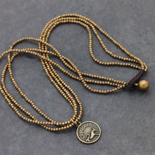 Zodiac Necklaces Raw Brass Multi Strand Woven Simple