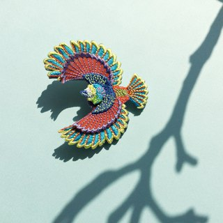 ARRO / Embroidery brooch / Flying bird / multi-color