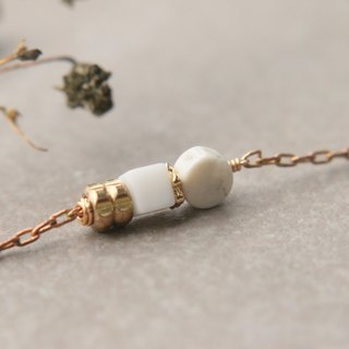 Pearl gemstone brass bracelet 0759 (Gooseneck lane hitting)