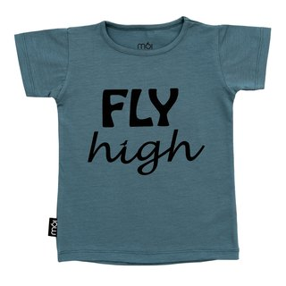 [Iceland organic cotton children's clothing] children's daily T-shirt ink blue for age 1Y-8Y