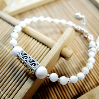 Zen Zen Pure 砗 磲 feather classic wind 925 silver bracelet