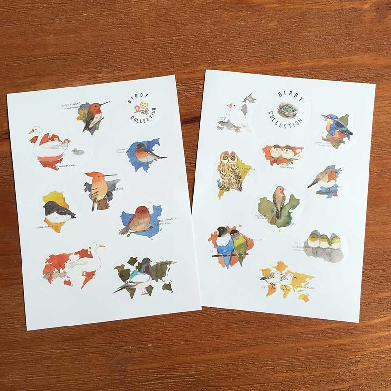 Shine Limited waterproof sticker watercolor illustrations of animals - birds