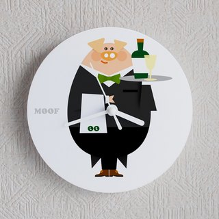 Muff Wall clock Illustration Wall clock Humorous simple design animal pig waiter Garcon