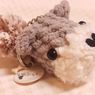 [Leaf cat child. Handmade Edition] q pet dog's head keychain - Schnauzer (single)