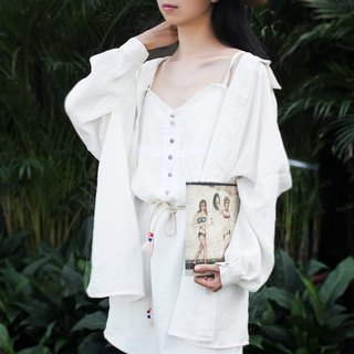 MaodiuL cat lost independent original design new sense of drama oversize linen fabric loose white shirt