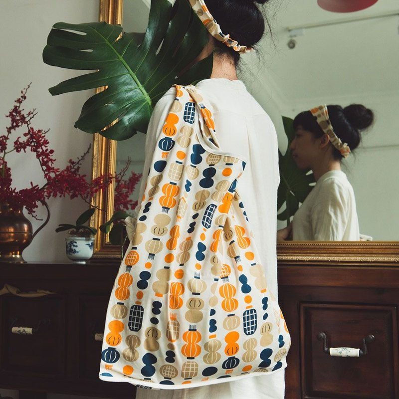 """H"" Market Bag / Milly Collection / Paper Lantern / Orange & Blue"