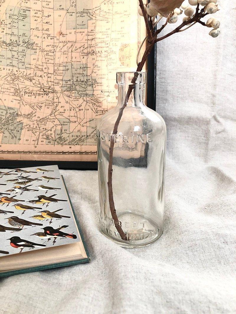 Antique 1930s 美國Listerine 浮雕玻璃瓶/花瓶 單個