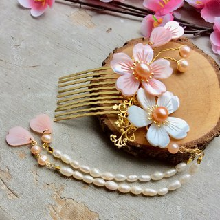 Handmade ~ Chinese style antique shellfish cherry comb (double flower / white + powder)