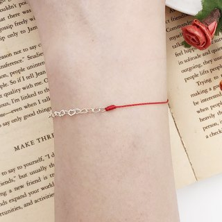 Half line half chain sterling silver love chain love relay never give up design red line hand rope