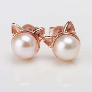 14K Gold X freshwater pearl【Cat Ear Earrings 】American Curl、Scottish fold、Scotis