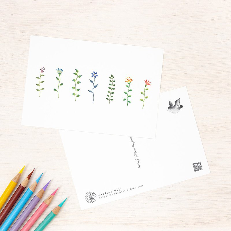 "Set of 5 sheets. Like a picture book. Postcard ""colorful flowers"" PC-34"