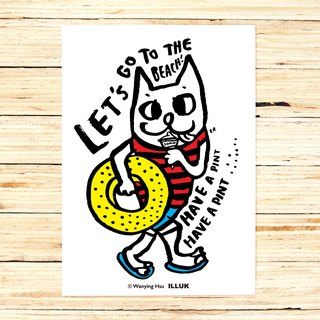 "Wanying Hsu cat down postcard ""LET'S GO TO THE BEACH"""