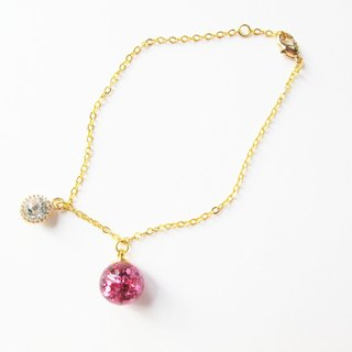*Rosy Garden* pink glitter with water inisde glass ball bracelet