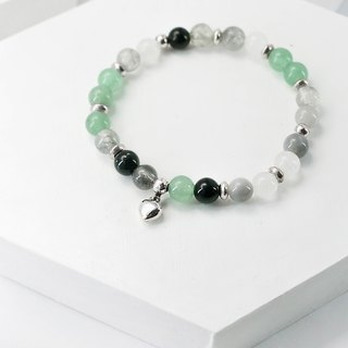 Spring mud signal natural stone silver bracelet │ pink green pink ♡ unicorn 925 sterling silver gift birthday accessories Green Mausoleum
