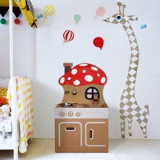 Mini kitchen (with mushroom backboard stickers) play home wine fun creative gifts green toys