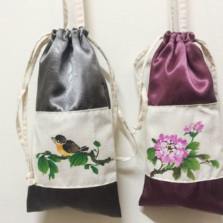 Kettle bag / beverage bag / side backpack / canteen bag / silver gray / hand-painted