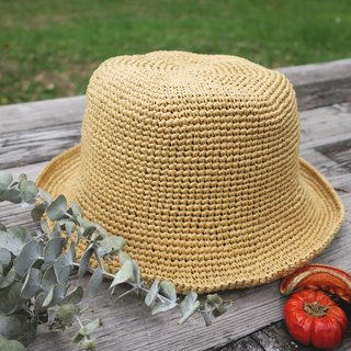 A mother's hand-made hat - summer Raphael straw hat - retro square fisherman hat / shallow khaki / wild models / picnic / gift