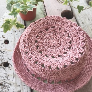 Hand-woven summer hollow paper cap red bean milk pink, natural color two colors and two sizes