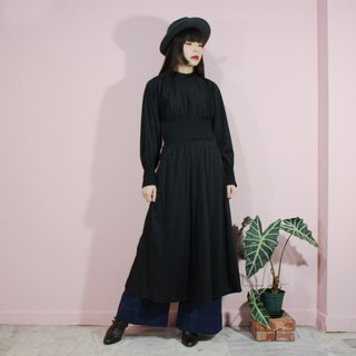 [Vintage dress] (Made in Italy) Black elegant half-high waist waist long-sleeved vintage dress