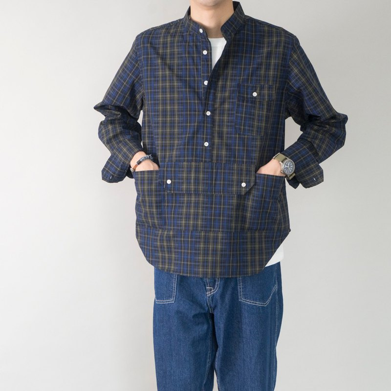 Japanese style loose version of the trough lattice tooling shirt small stand collar multi-pocket shirt