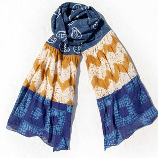 Blue dyed silk scarf / batik embroidery silk scarf / plant dyed scarf / indigo gradient cotton scarf - blue world