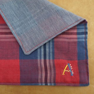"Hand embroidered quadruple gauze handkerchief  ""initial/A"""