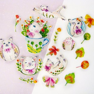 """Shuxin Department ─ flowers and cat"" sticker set"