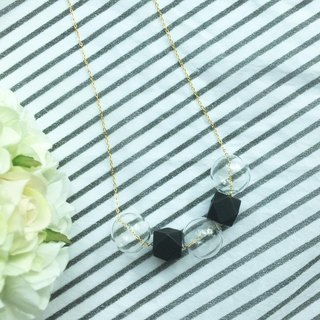 """LaPerle"" Geometric ball beads Wood beads Glass beads White Black Original hand-made necklace Necklace jewelry Plated 16K Gold and copper chain Black geometric Necklace Handmade Free Shipping"