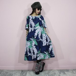 Hawaiian (Vintage dress) dark blue flowers American vintage dress (birthday gift) F3218