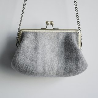 Felt Clutch Purse (with chain strap)-''Grey Rainbow''
