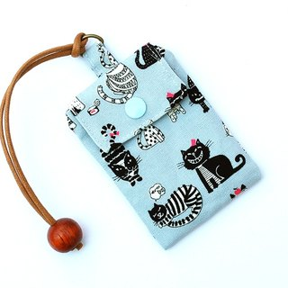 Black cat help card bag / card holder business card bag