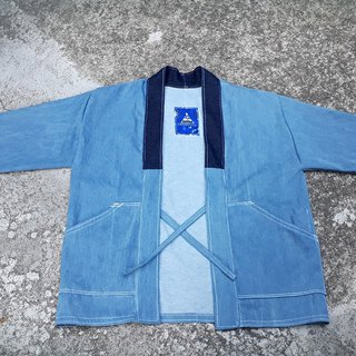 AMIN'S SHINY WORLD handmade custom KIMONO washed tannins deep blue collar blouse coat jacket